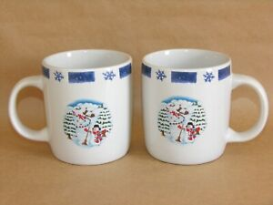 Ceramic Snowman Coffee Hot Chocolate Tea Mug 12 Ounce Set of 2