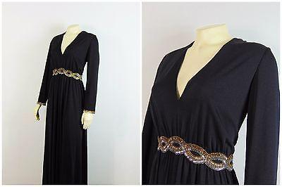 Vintage Dress 60s Grecian Victoria Royal LTD Formal Black w Beaded Sleeve M/L