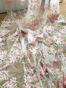 """Vestido De Novia 55/"""" de ancho con Cable Oro Rosa Encaje Tul Bordado Floral Tela 1 y"""