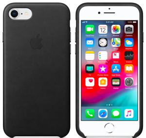 Apple-iPhone-8-7-SE2020-Echt-Original-Leder-Huelle-Leather-Case-Schwarz-Black