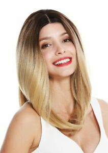Details About Wig Ladies Monofilament Lace Front Parting Smooth Ombre Balayage Braun Blonde