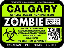 Canada Calgary Zombie Hunting License Permit 3x 4 Decal Sticker Outbreak 1318