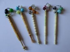 5 antique bovine lace tatting bobbins with glass spangles