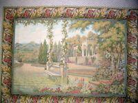 Italian Tapestry Wallhanging Lake Como Garden 39x53