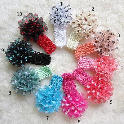 New Headwear 10pcs Baby Girls Polka Dot Chiffon Flowers Hairband Clip Hairbow