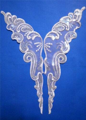 """14/"""" Venise Lace White Organza Sequins Appliques 10pcs 5 Pair"""