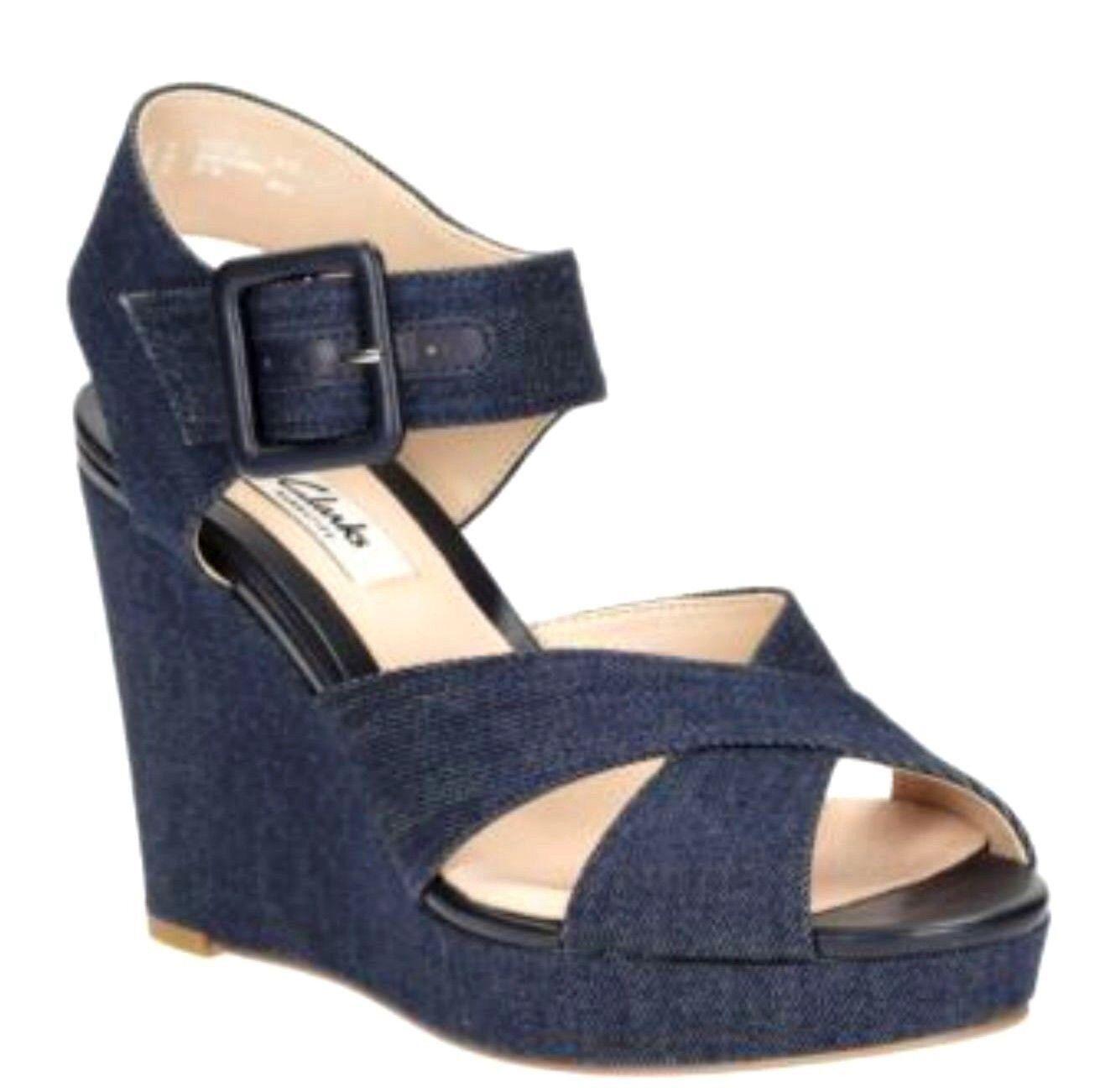 Damas Clarks y y Clarks Correa en el Tobillo de Plataforma De Cuña Denim Azul Sandalias De Mujer lonan Grace 4f96a0