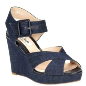 Blue cinturino Clarks Ladies Sandali Wedge caviglia Lonan con Grace alla Denim Platform tpt0wqxr