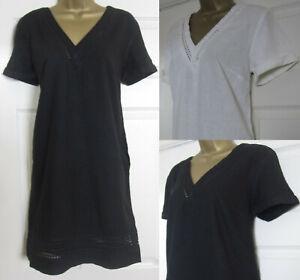 NEW-Next-Shift-Tunic-Dress-Linen-Blend-Summer-Sun-Broderie-Black-Ivory-6-18