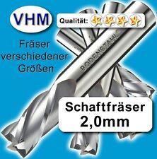 Vollhartmetall Fräser 2mm f. Kunststoff Holz MdF Alu GfK, VHM Schaftfräser #39