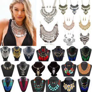 Women-Fashion-Bohemia-Pendant-Choker-Chunky-Chain-Bib-Necklace-Statement-Jewelry