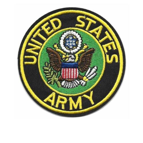 """US ARMY IRON ON PATCH 3/"""" Embroidered Applique United States Military Round USA"""