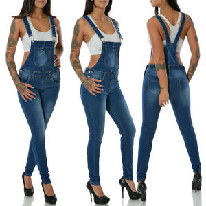 damen jeans hose skinny latzhose overall jumpsuit h ftjeans r hrenjeans stretch ebay. Black Bedroom Furniture Sets. Home Design Ideas
