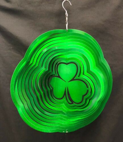 "12/"" GREEN SHAMROCK CLOVER Wind Spinner Stainless steel Garden Decor EX DISPLAY"