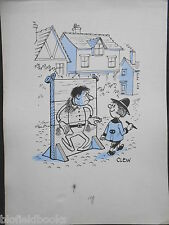 "CLIFFORD LEWIS ""CLEW"" Original Pen & Ink Cartoon - Cheeky Boy/Man in Stocks #94"
