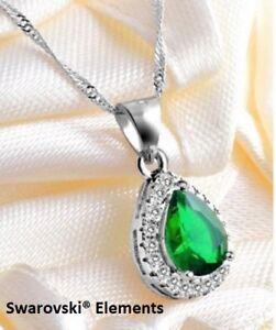 Détails sur Collier chaîne pendentif Cristal Swarovski goutte d'eau VERT  EMERAUDE + pochette