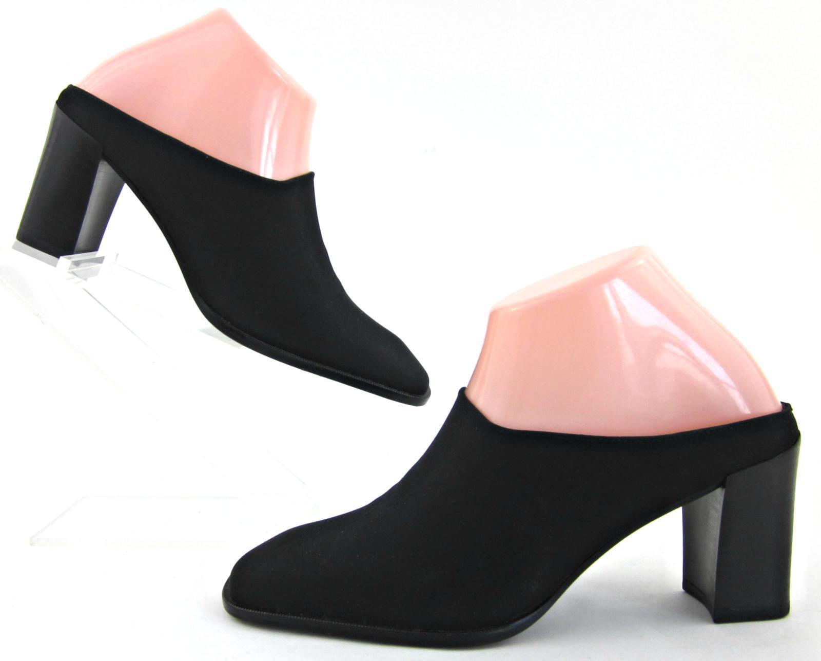NEW  Donald J Pliner Mule Slide Heels Black Stretch Fabric Sz 6.5M