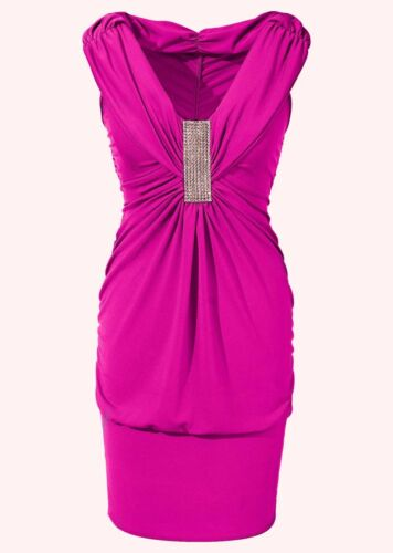 Shirtkleid Gr 32//34//36//38 Fuchsia Cocktail Abend Party Mini-Kleid Neu