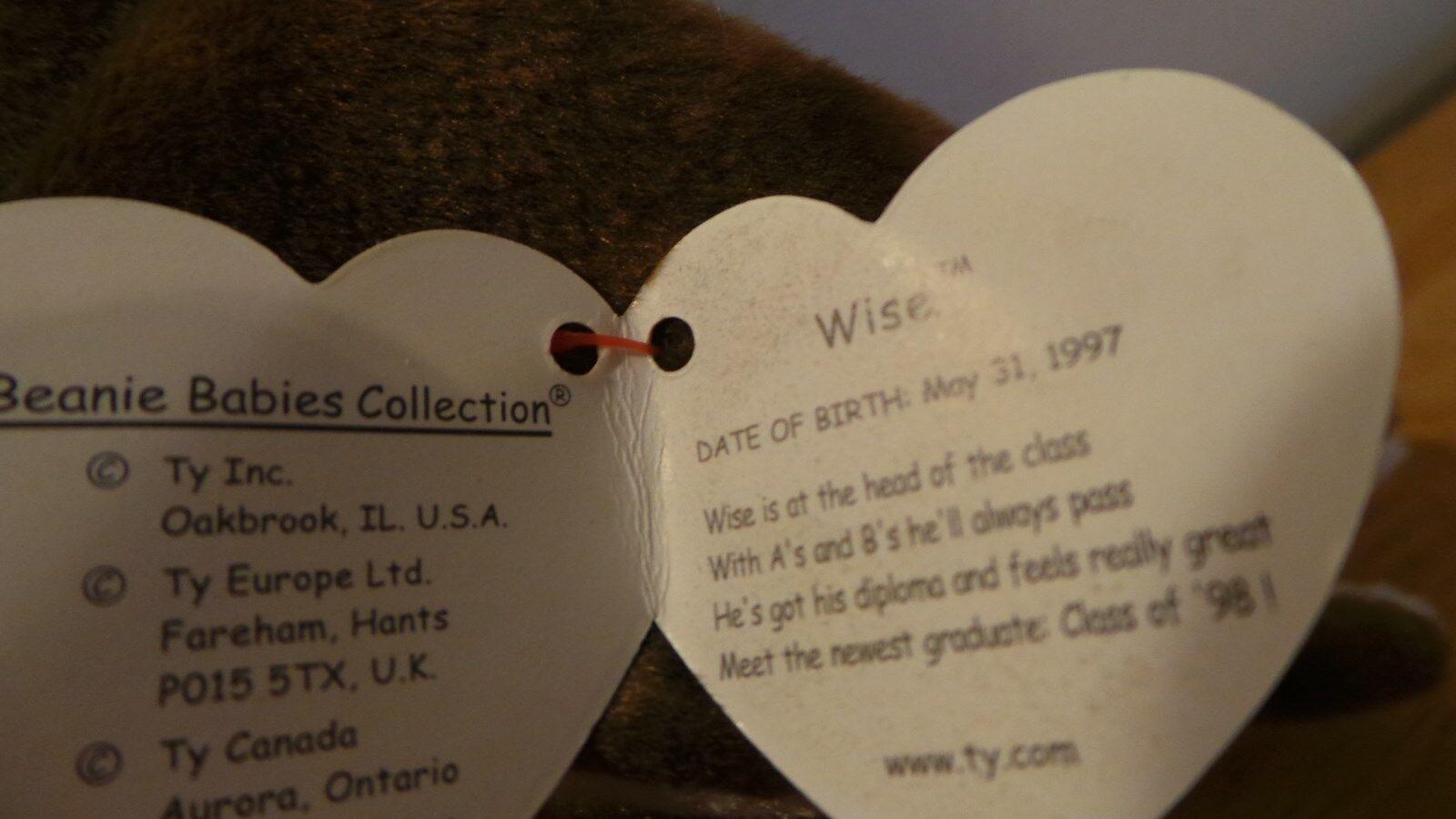Ty Original Beanie Beanie Beanie Baby WISE Owl Graduate Class of 1998 RARE FIND Tag Error 8b7b01