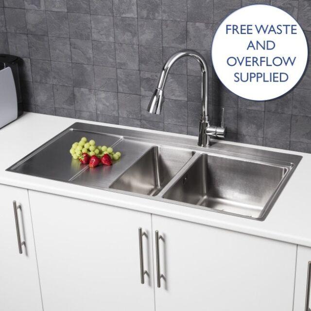modern stainless steel kitchen sink 1 5 bowl left hand drainer rh ebay co uk