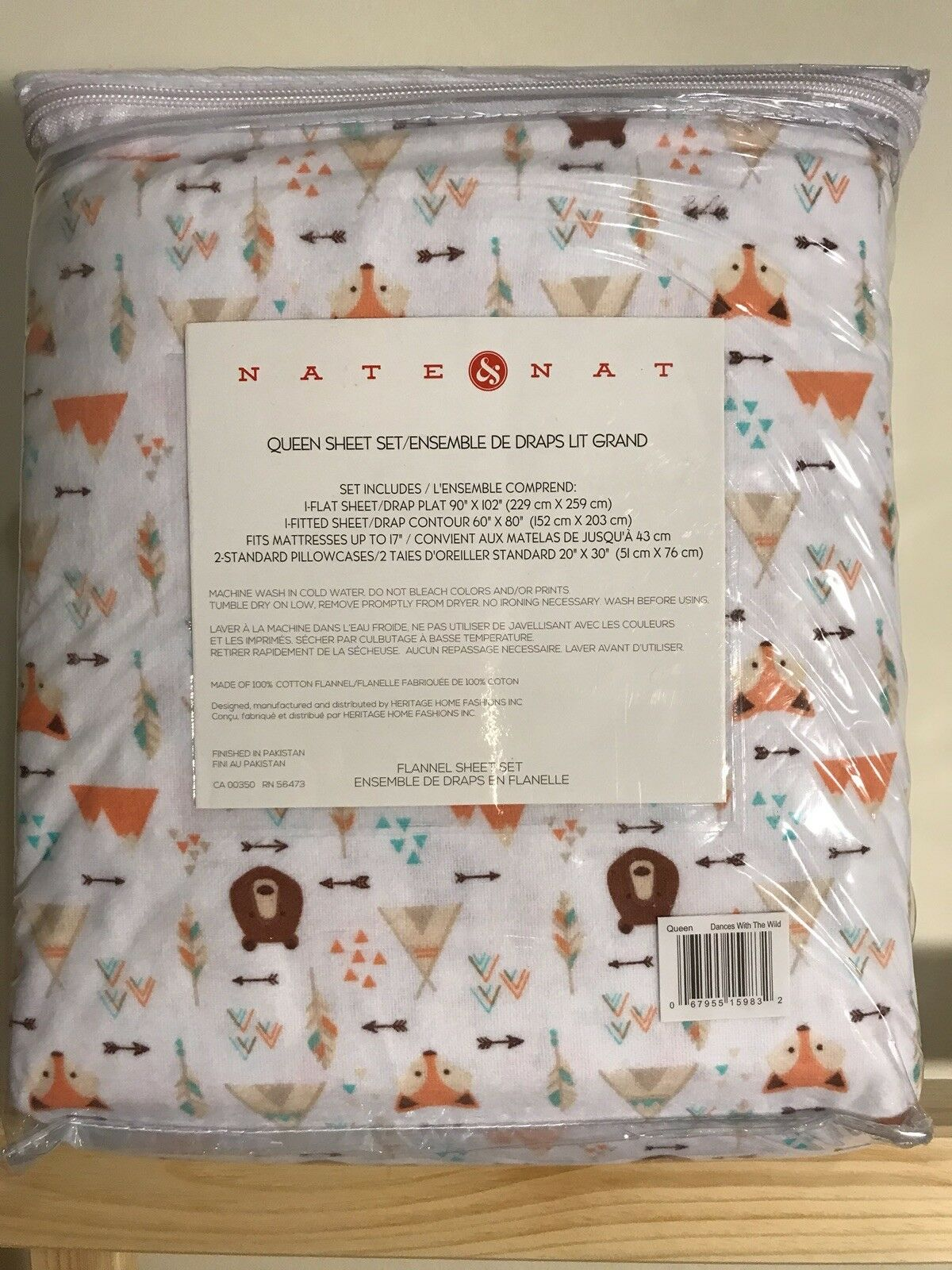 Nate & Nat Dances With The Wild Flannel Bed Sheets 4 Piece Set Size Full