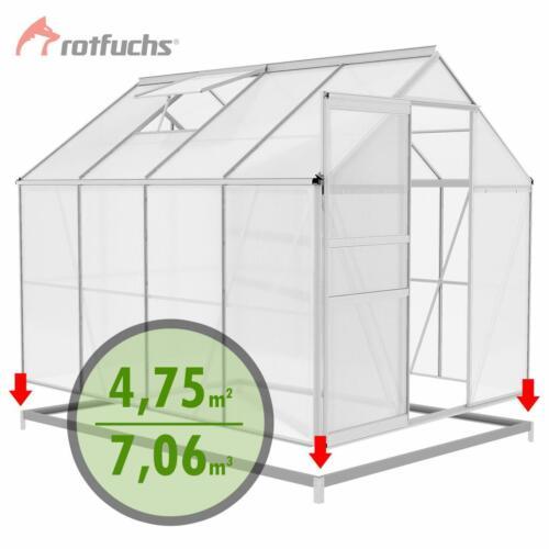 Rotfuchs ALU Gewächshaus mit Fundament Treibhaus Tomaten Gartenhaus 7,06 m³