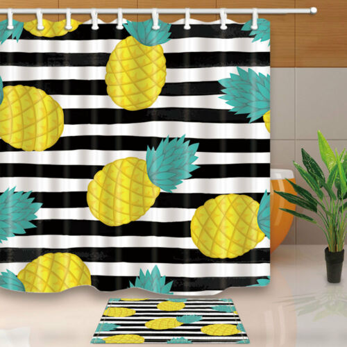 Pineapple On Black And White Watercolor Stripes Bath Fabric Shower Curtain 71/'