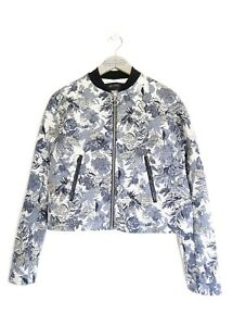 09041eac830 ZARA WOMENS BLUE   WHITE FLORAL PRINT JACQUARD BOMBER JACKET  MEDIUM ...