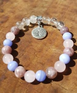 22cm-High-Stress-Anxiety-relief-Bracelet-Blue-Lace-Agate-Rose-Quartz-Lepidolite