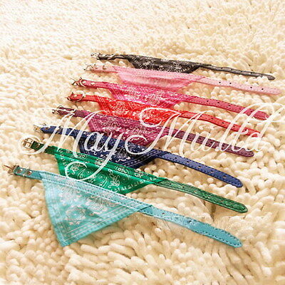 Small Adjustable Pet Dog Puppy Cat Neck Scarf Bandana with Collar 1cm width L