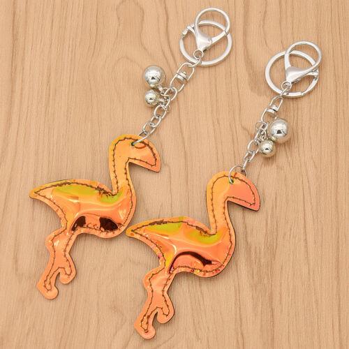 2 Pcs Hologram PU Leather Laser Flamingo Keychain Keyring Holographic Bag Charms