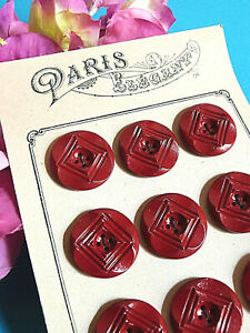 043C-Grossartig-Platte-von-12-Knoepfe-Antike-034-Paris-Stylische-034-Rot-Ep-Art
