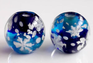 10pcs-handmade-Lampwork-glass-round-Beads-flower-14mm-blue-snowflake-sky-silver