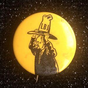 Vintage 1968 Satirical Hubert Humphrey Trying to Wear LBJ/'s Hat Pinback
