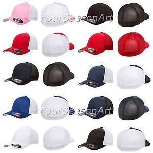 Details about FLEXFIT TRUCKER MESH CAP PLAIN BLANK BASEBALL HAT FLEX FIT  CURVED FITTED - 6511