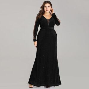 Details about Ever-Pretty Long Sleeve Cocktail Dress V Neck Glitter Formal  Dress Black 07394 39ec6947f