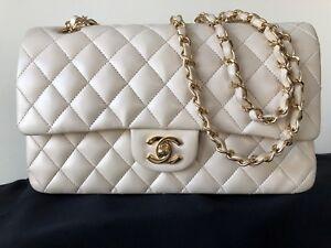 e1db19171d12 Image is loading Chanel-Classic-Flap-Beige-Caviar-Gold-Medium-Lambskin-