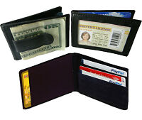 BLACK MEN'S LEATHER MONEY CLIP Bifold Wallet ID Card Holder Slim Front Pocket