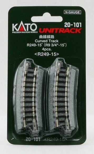 Kato 20-101 Noch 78110 Unitrack N 4 x gebogenes Gleis R249-15°//NEU