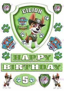 Image Is Loading EDIBLE PERSONALISED PAW PATROL BADGE TRACKER ICING CAKE