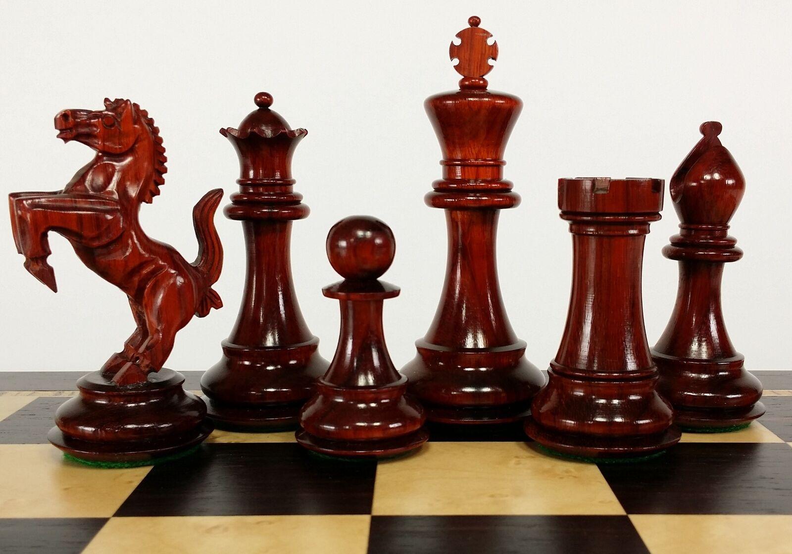 BLOOD rosaWOOD REARING KNIGHT 4 1 2  Kg Large Staunton Chess Men Set - NO Board