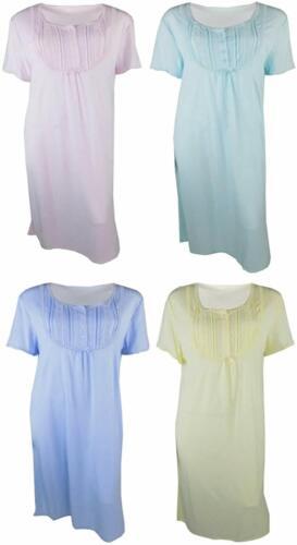Green Ladies Short Sleeve Light Nightdress//Nightie Blue Pink Yellow