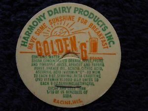 Rare-HARMONY-DAIRY-PRODUCTS-Racine-WI-GOLDEN-6-NOS-Bottle-Cap-Milk-Fruit-Juice