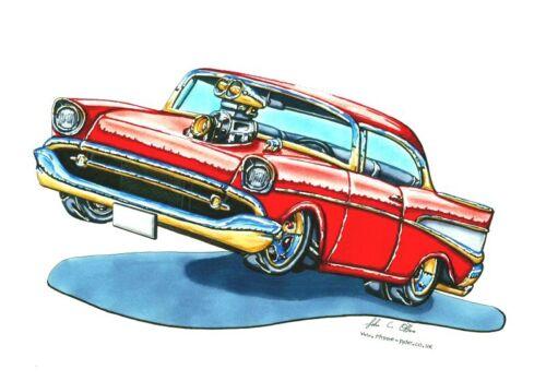 BN Rouge 57 Chevy Cross Stitch Chart GRATUIT UK POSTE
