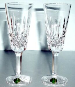 Waterford-Lismore-60th-Anniversary-Champagne-Flute-Pair-154040-New-In-Box