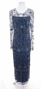 Stenay-Beaded-Flapper-Gatsby-Tiered-Formal-Maxi-Dress-Gown-Jacket-Blue-Sz-10