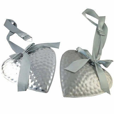 METAL HEART DECORATIONS - ORGANZA RIBBON - WALL HANGING ORNAMENT