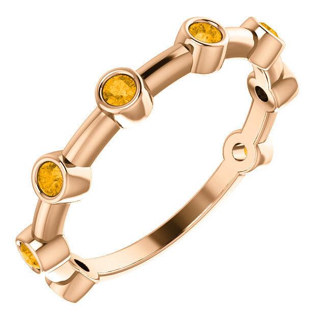 Citrine Bezel Set Bar Ring In 14K pink gold