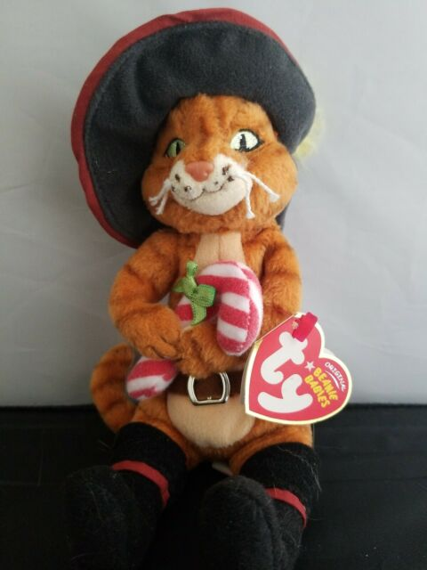 8. Inch Exclusive Shrek The Halls MWMT Ty Beanie Baby ~ PUSS IN BOOTS