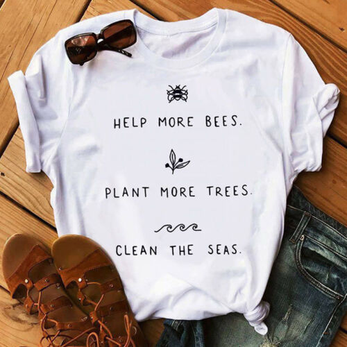 Help More Bees Tee Plant More Trees T-shirt Peace Love Tops Clean The Seas Shirt